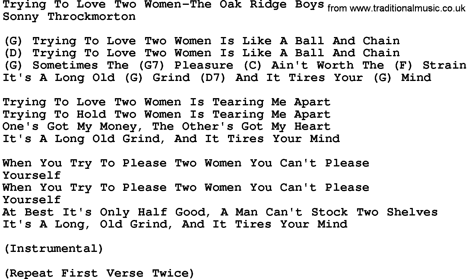 Songs about loving two women
