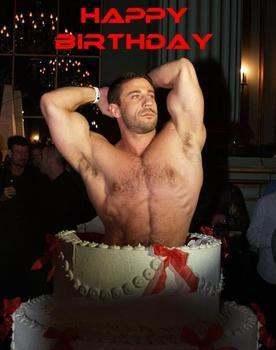 Sexy man with birthday cake