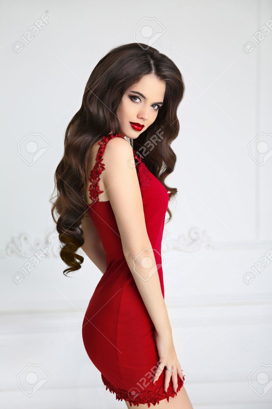 Sexy girl in red dress