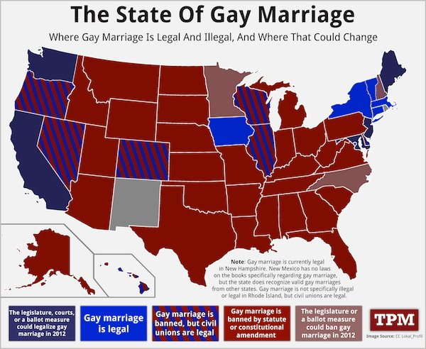 States for same sex marriages