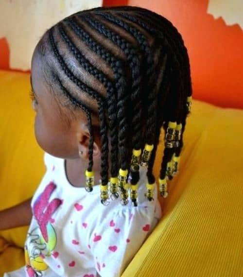 Braids with beads for black little girl