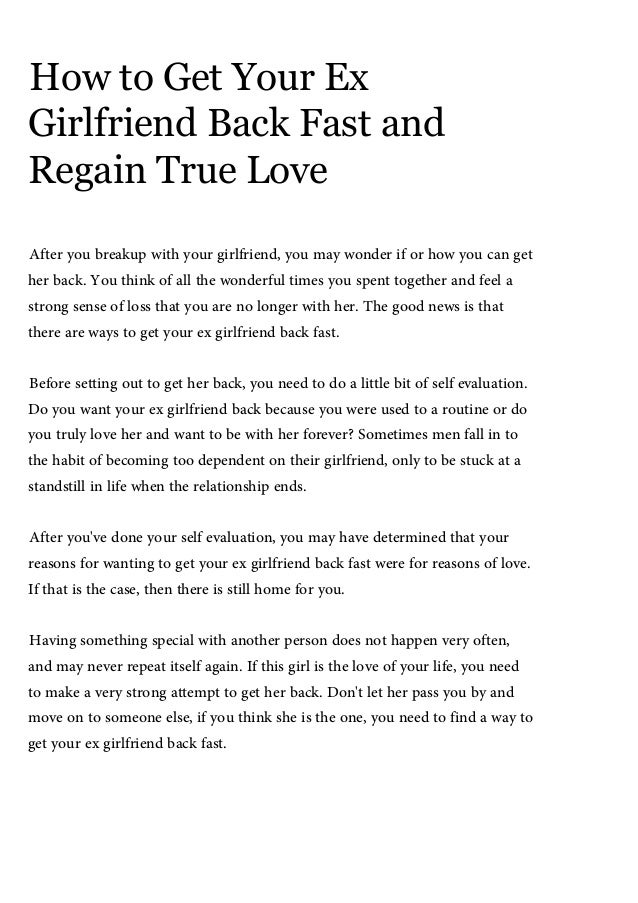 Ways to get your girlfriend back