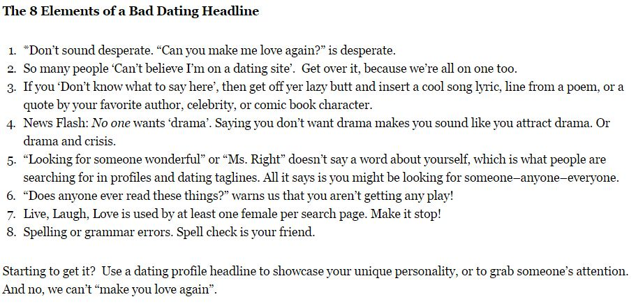 Great headline examples for dating sites