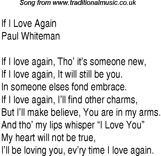 If i love again song
