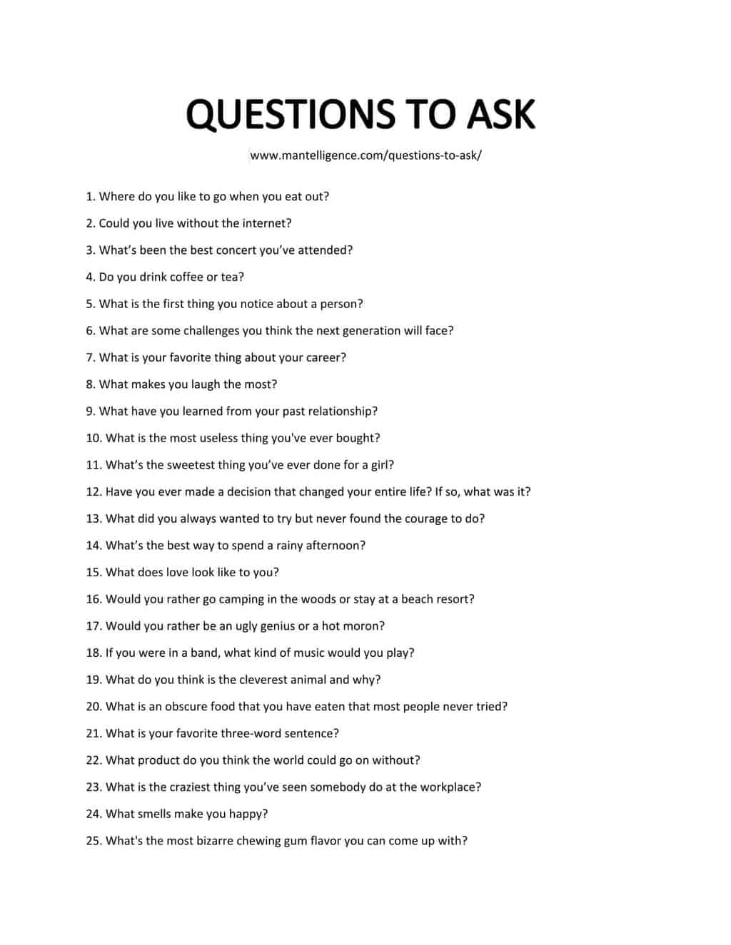 Something to ask a girl to get to know her