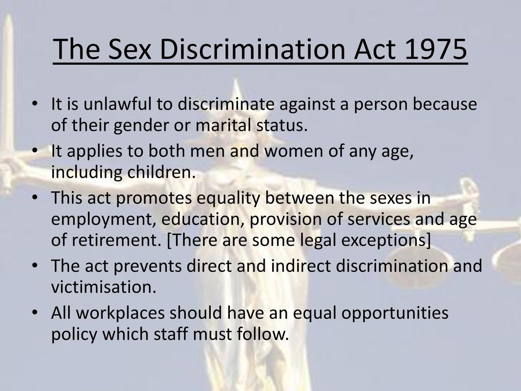 The sex discrimination act 1975 summary