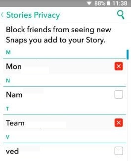 Snapchat story block doesn t work
