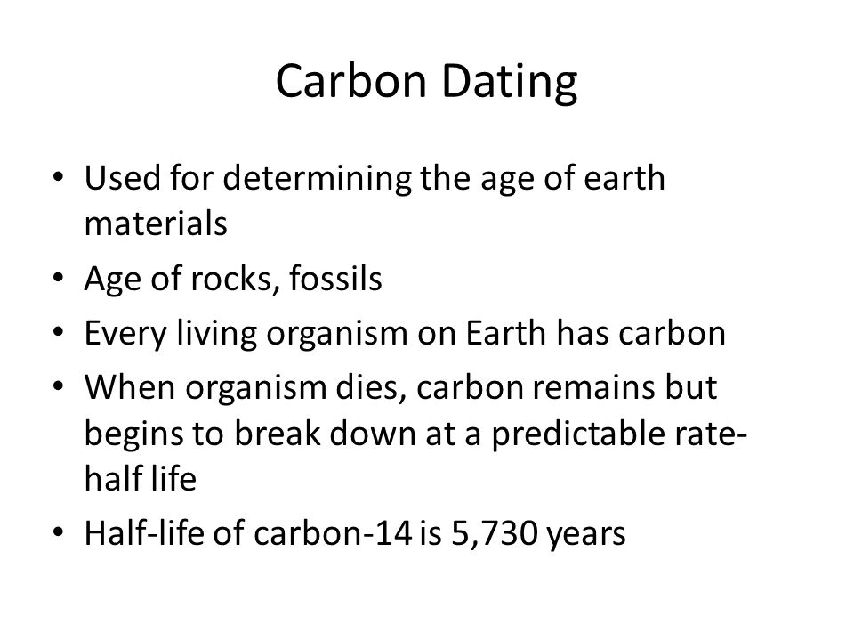 Age of earth according to carbon dating