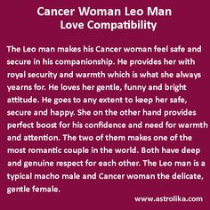 Cancer man and leo woman marriage