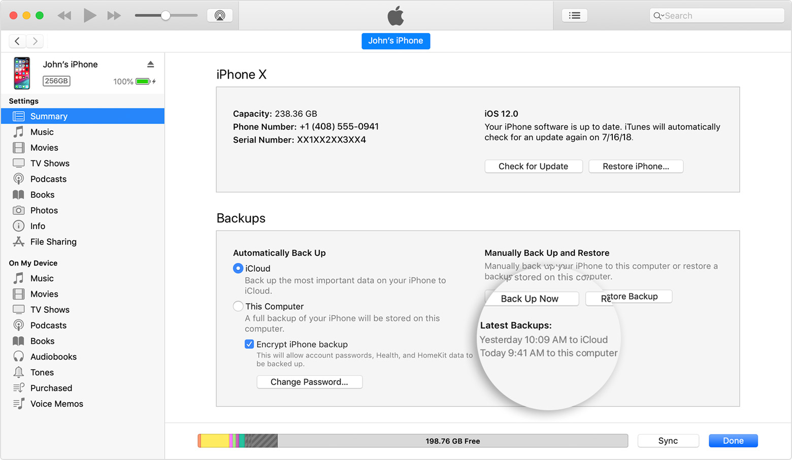 Backing up and updating iphone