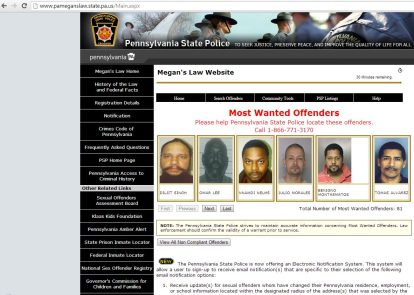 Registery of sex offenders in pennsylvania
